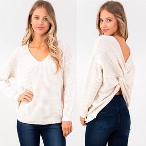Sweaters - Ivory Knitted Twisted Knot Sweater Top